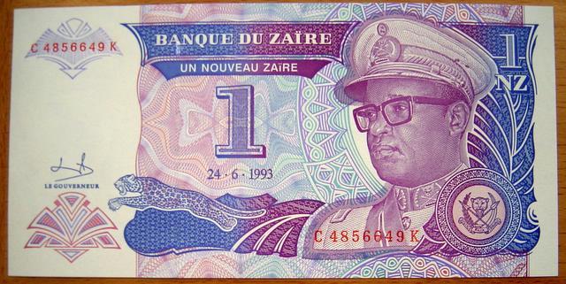 Mobutu auf einer Banknote von Zaïre