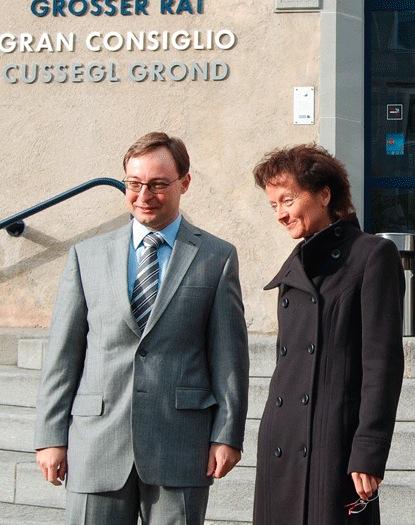 Sacha Zala e la Consigliera federale Eveline Widmer-Schlumpf il 25.10.2008 a Coira in occasione del 90esimo anniversario della Pro Grigioni Italiano